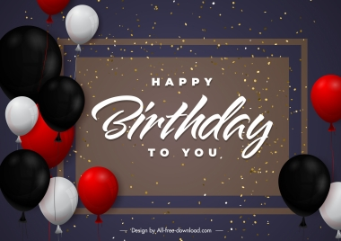 birthday poster template elegant colorful balloons confetti decor