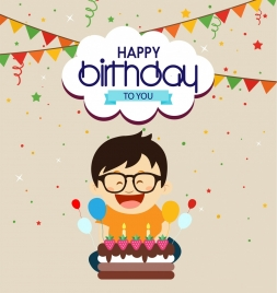 birthday theme design human and cake colorful style