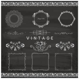 black and white vintage pattern borders