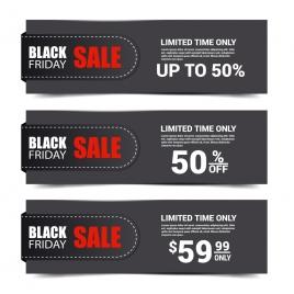 black background sets of black friday banner