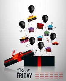 black friday banner black balloons present boxes decor