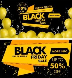 black friday banner yellow black design origami decor