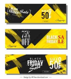black friday banners modern black yellow abstract decor