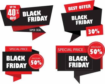 black friday design elements 3d origami decor