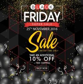 black friday sale banner black balloons geometry decor