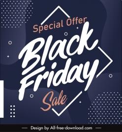 black friday sale banner dark design calligraphic decor