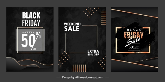 black friday sale banners modern dark dynamic design
