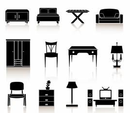 black n white icons - furniture