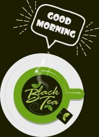 black tea banner green cup icon calligraphic decor