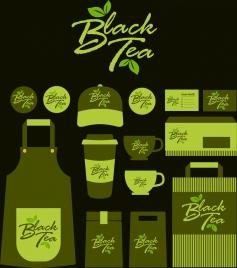 black tea brand identity sets dark green design