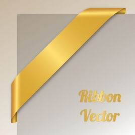 blank golden corner ribbon