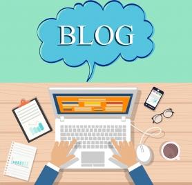 blog writing theme laptop appliances desk icons