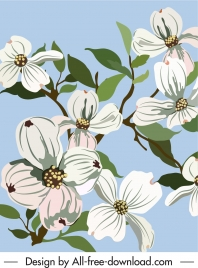 blooming flora painting colored handdrawn classic sketch