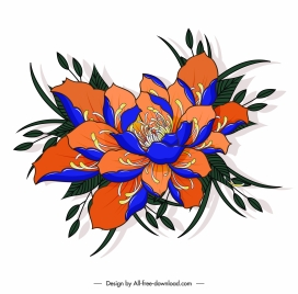 blooming flower painting colorful classical design