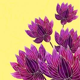 blooming flowers background violet sketch