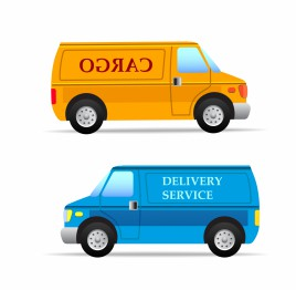 Blue and orange delivery vans isolated vector art