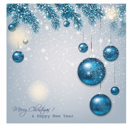 Blue Christmas background with fir twigs and balls.