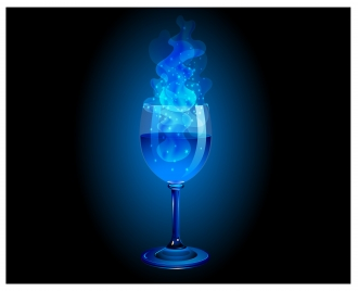 blue magic wine glass