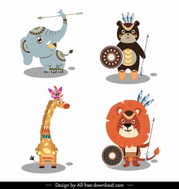 boho animal icons elephant bear giraffe lion sketch