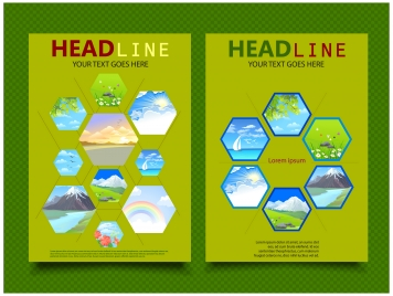 book cover design with pictures on polygons