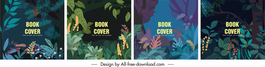 book cover templates forest leaves sketch dark classic
