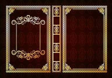 book decorative template classical frame dark brown