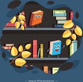 bookshelf background cute stylized books icons
