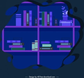 bookshelf background dark blue sketch bubble isolation