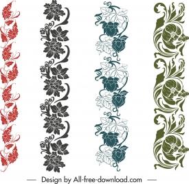 border design elements seamless elegant flowers decor