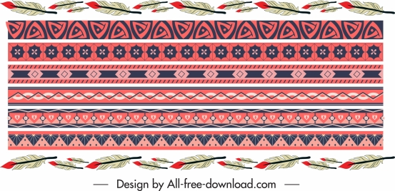 border elements templates ethnic symbols repeating symmetric decor