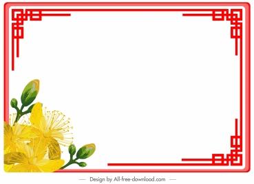 border template colored oriental flower decor symmetric design