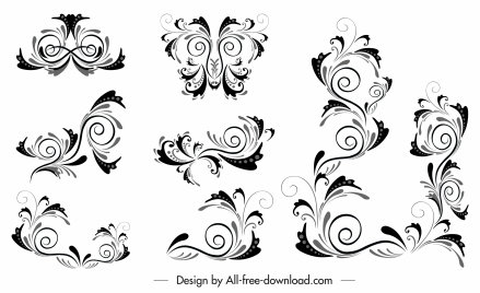 borders decor elements classic swirled shapes