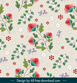 botany pattern template bright colorful elegant petals sketch