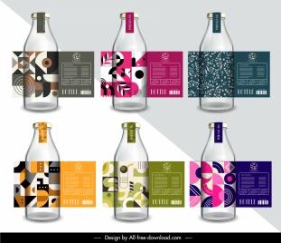 bottle label templates elegant classic geometric plants decor