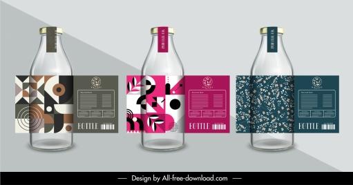 bottle label templates elegant geometrical plant decor