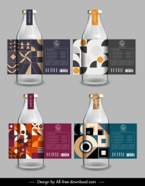 bottle labels templates abstract pattern decor