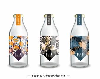 bottle labels templates shiny modern sketch colorful leaves