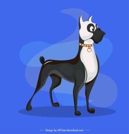 boxer dog icon black white design cartoon character