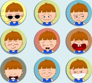 boy emotional icons collection cute cartoon design