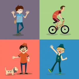 boy icons collection colored cartoon design various gestures