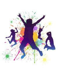 Boys jumping against a paint splatter background.