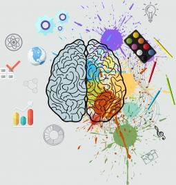 brain background grunge colored splashing decor