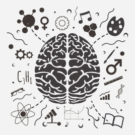 brain concept background black white retro design
