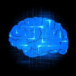 brain icon shiny dark blue design