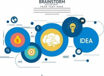 brainstorming infographic circles decoration various symbols