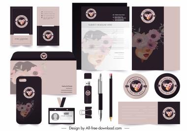 brand identity decor template woman face flora sketch