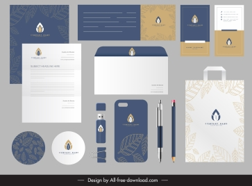 brand identity sets classic elegant leaves decor