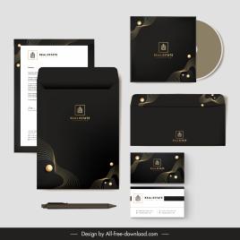 brand identity sets dark elegant black dynamic curves