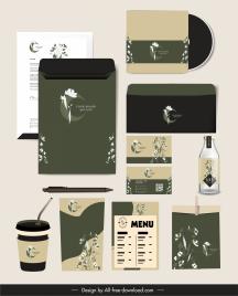 brand identity sets elegant classical botanical decor