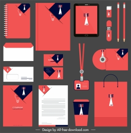 brand identity sets flat lightbulb red white decor